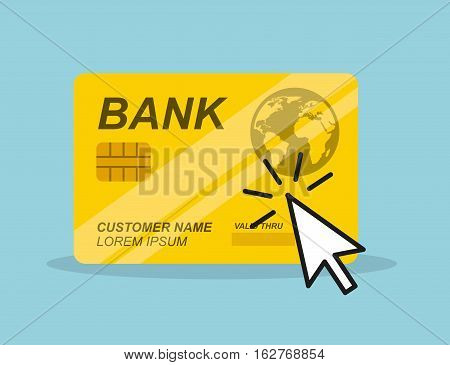mouse cursor and credit card icon over blue background. colorful design. vector illustration
