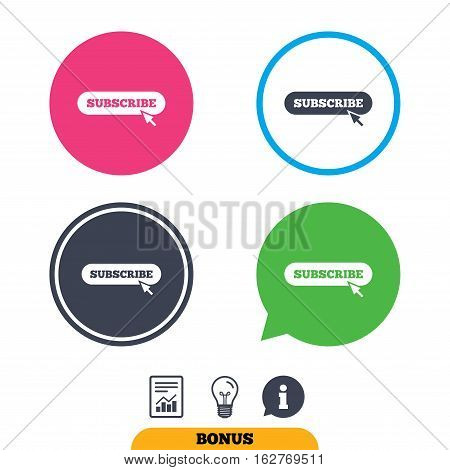 Subscribe with cursor pointer sign icon. Membership symbol. Website navigation. Report document, information sign and light bulb icons. Vector