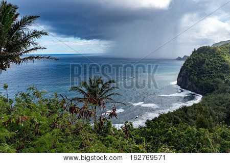 Rainshower off the coast of the Pololu Valley