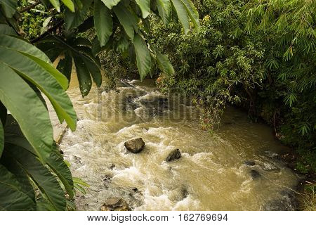A dirty river flow photo taken in Bogor Indonesia java