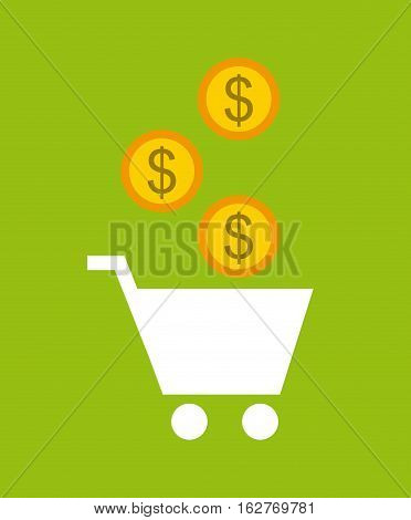 shopping cart with gold coins over green background. colorful design. vector illustration