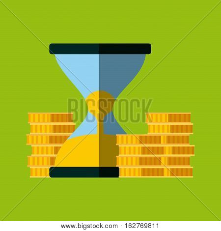 sandclock and gold coins icon over green background. colorful design. vector illustration