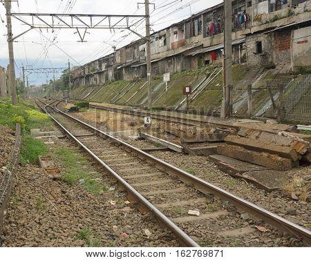An empty commuter line railway photo taken in Bogor Indonesia java