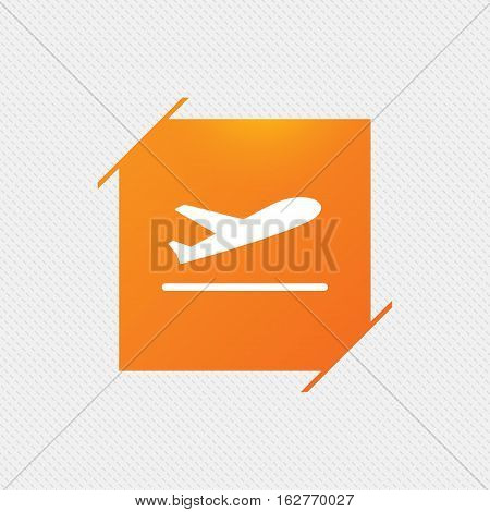 Plane takeoff icon. Airplane transport symbol. Orange square label on pattern. Vector