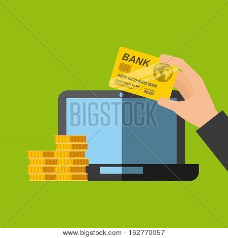 laptop computer with hand holding a credti card and gold coins icon over green background. colorful design. vector illustration