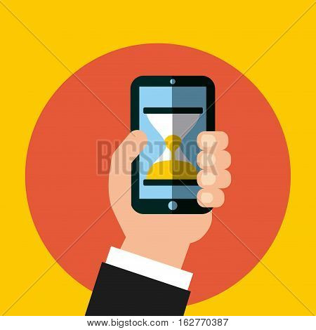 hand holding a smartphone device with sandclock icon on screen over orange circle and yellow background. colorful design. vector illustration