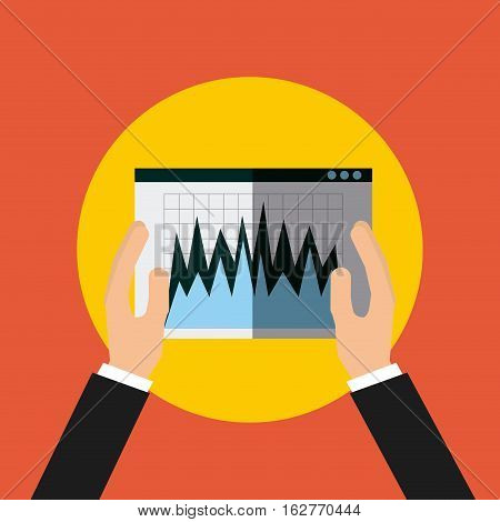 hands holding a graphic charts icon over yellow circle and orange background. colorful design. vector illustration