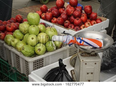 Green Guavas and Red Apples photo taken in Bogor Indonesia java