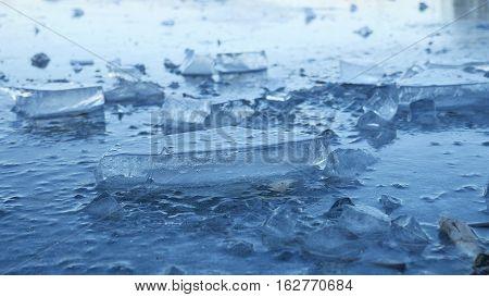 ice frozen water on river ice break debris beautiful winter landscape nature