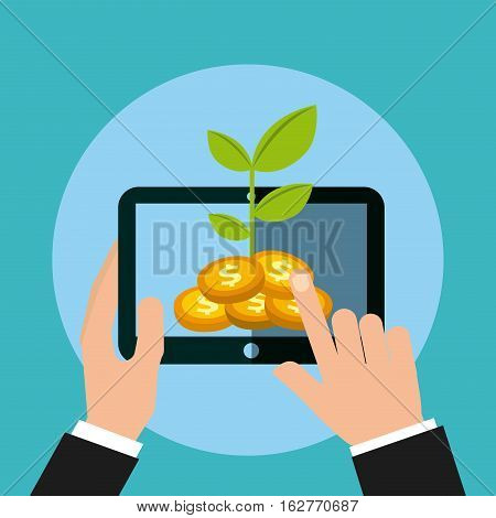 hand holding a tablet device with gold coins and green plant over blue background. money and profits concept. colorful design. vector illustration