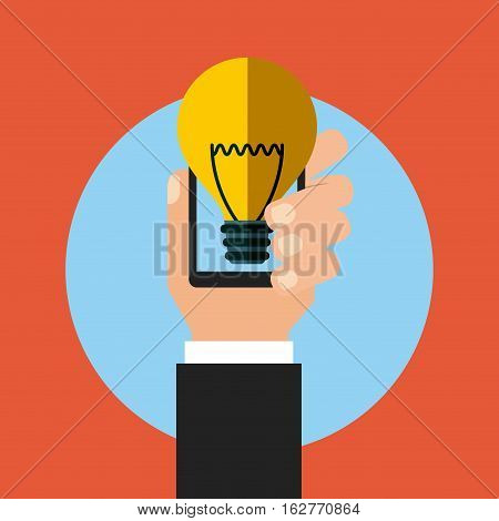 smartphone device and bulb light icon over blue circle and red background. colorful design. vector illustration
