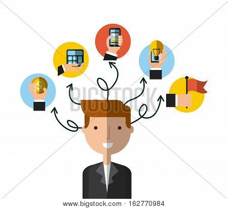 businessman smiling with money and technology icons around him over white background. colorful design. vector illustration
