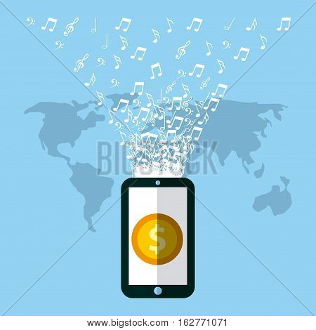 smartphone device with gold coin icon on screen over world map and blue background. colorful design. vector illustration