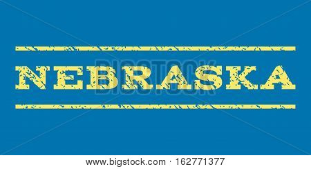 Nebraska watermark stamp. Text caption between horizontal parallel lines with grunge design style. Rubber seal stamp with unclean texture. Vector yellow color ink imprint on a blue background.