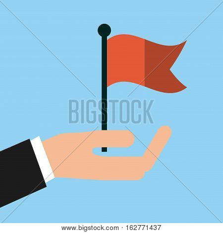 hand with red flag icon over  blue background. colorful deisgn. vector illustration