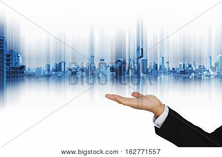 Technology hologram modern city on businessman hand, on white background