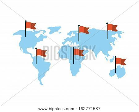 world map with red flags over white background. colorful design. vector illustration