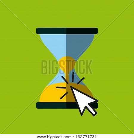 sandclock and mouse cursor icon over green background. colorful design. vector illustration