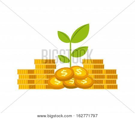 gold coins and green plant icon over white background. money and profits concept. colorful design. vector illustration
