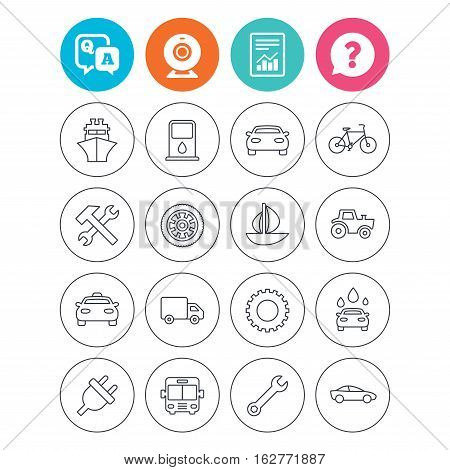 Transport and services icons. Ship, car and public bus, taxi. Repair hammer and wrench key, wheel and cogwheel. Sailboat and bicycle. Report document, question and answer icons. Web camera sign