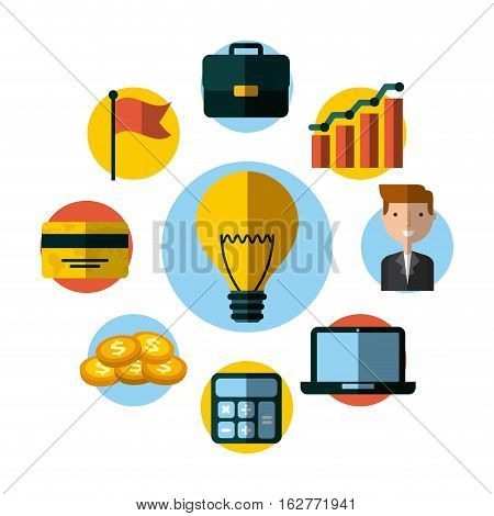 yellow bulb light with money icons around over white background. colorful design. vector illustration