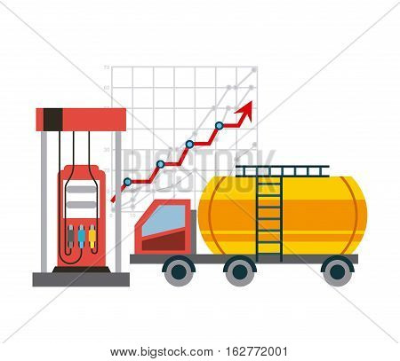 gas station pump and tanker truck icon over white background. colorful design. vector illustration