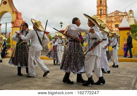 Children On Parade On Mexico Revolution Day.