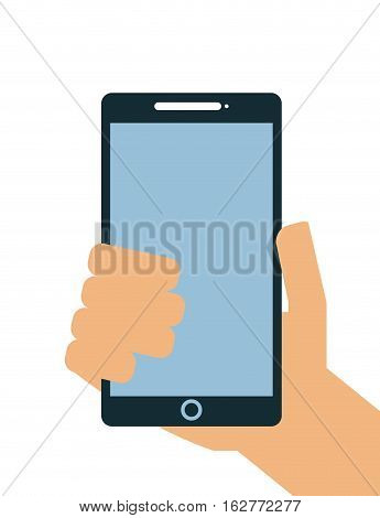 hand holding a smartphone device icon over white background. colorful design. vector illustration