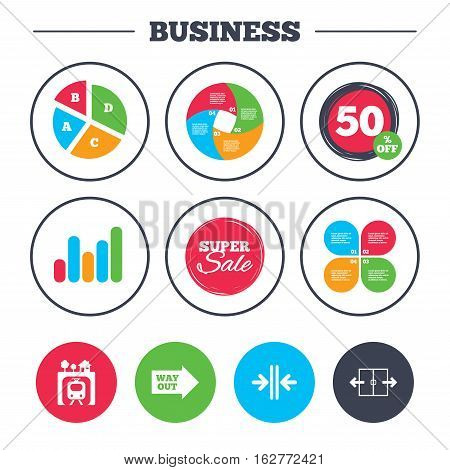 Business pie chart. Growth graph. Underground metro train icon. Automatic door symbol. Way out arrow sign. Super sale and discount buttons. Vector