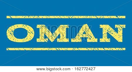 Oman watermark stamp. Text caption between horizontal parallel lines with grunge design style. Rubber seal stamp with unclean texture. Vector yellow color ink imprint on a blue background.