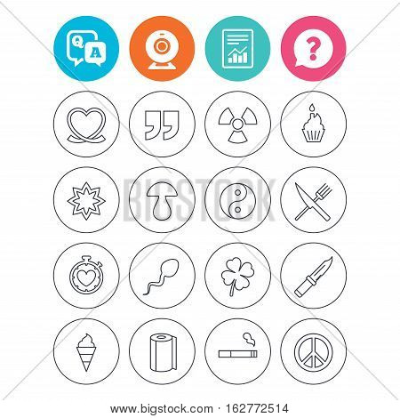 Universal icons. Quotes, ribbon heart and cake. Clover, mushroom and ice cream. Smoking, knife and fork. Report document, question and answer icons. Web camera sign. Vector