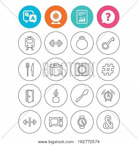 Universal icons. Fitness dumbbell, home key and candle. Toilet paper, knife and fork. Microwave oven. Report document, question and answer icons. Web camera sign. Vector