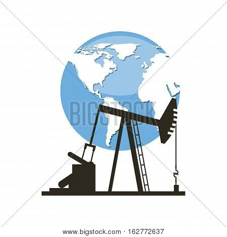 oil industry rig factory and earth planet icon. colorful design. vector illustration