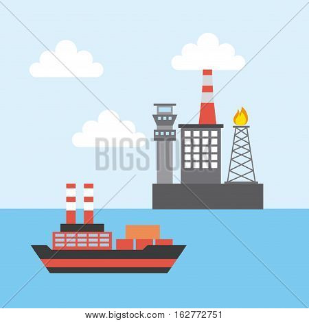 oil industry rig factory and cargo ship icon. colorful design. vector illustration
