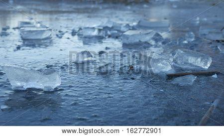 ice frozen water on river ice break debris beautiful winter nature landscape