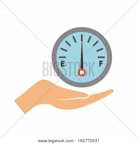 hand with fuel gauge icon over white background. colorful design. vector illustration