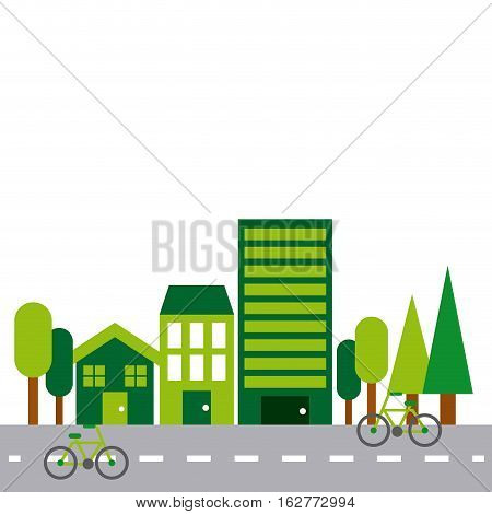 green city. colorful design. think green concept. vector illustration