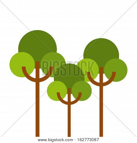 green trees icon over white background. colorful design. vector illustration