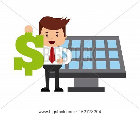 solar panel and businessman holding a money sign icon over white background. colorful design. vector illustration
