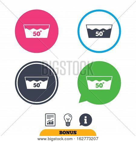 Wash icon. Machine washable at 50 degrees symbol. Report document, information sign and light bulb icons. Vector