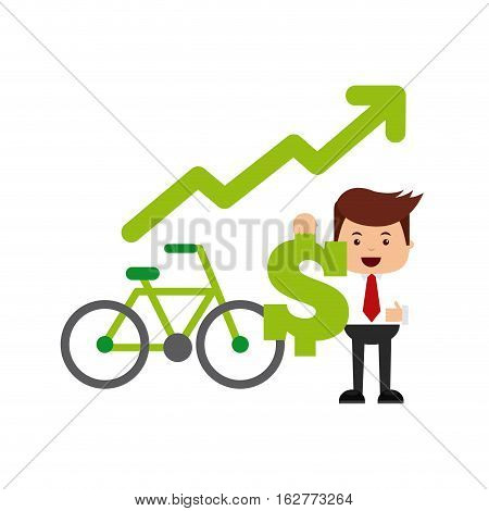 businessman holding a money sign and bicycle icon over white background. think green and sustainability design. vector illustration