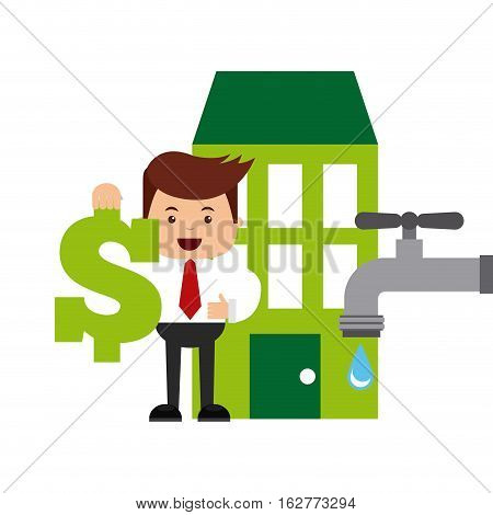 green building and water tap and businessman holding  money sign. colorful design. sustainability and think green concept. vector illustration