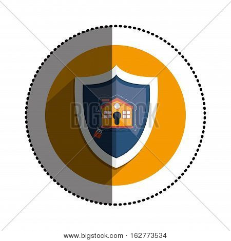 Padlock and house icon. Insurance security protection and safety theme. Isolated design. Vector illustration