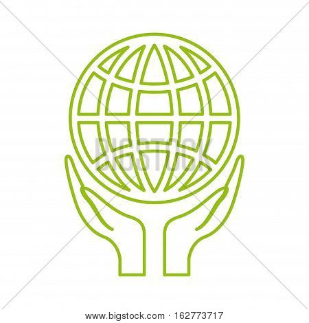 hands with global sphere icon over white background. colorful design. vector illustration
