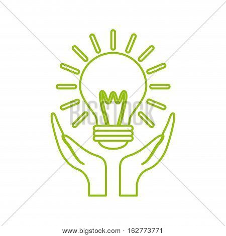 hands with light bulb icon over white background. colorful design. vector illustration