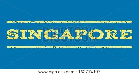 Singapore watermark stamp. Text caption between horizontal parallel lines with grunge design style. Rubber seal stamp with dust texture. Vector yellow color ink imprint on a blue background.
