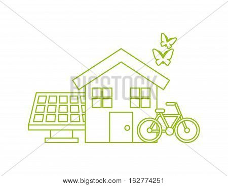 ecology and think green icons over white background. colorful design. vector illustration