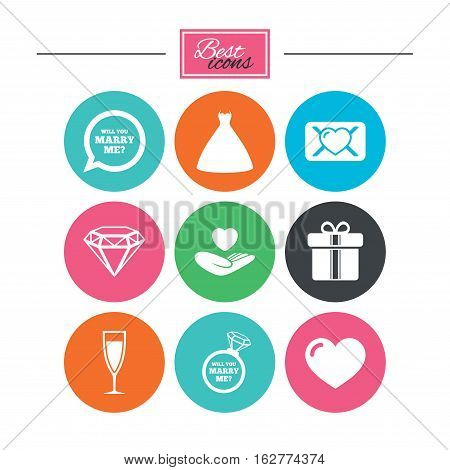 Wedding, engagement icons. Love oath letter, gift box and brilliant signs. Dress, heart and champagne glass symbols. Colorful flat buttons with icons. Vector