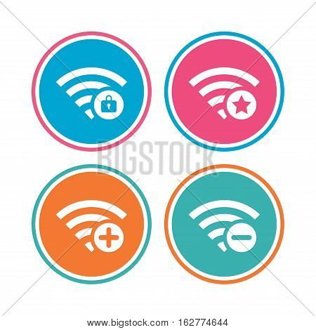 Wifi Wireless Network icons. Wi-fi zone add or remove symbols. Favorite star sign. Password protected Wi-fi. Colored circle buttons. Vector