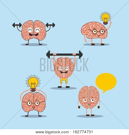 cartoon human brain with dumbbells and light bulb icons over blue background. colorful design. vector illustration